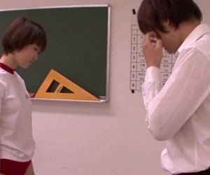 Young oriental schoolgirl blowing teacher - 5 min