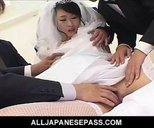 Kinky Japanese bride is the gift of both her husband and his groomsmen - 7 min