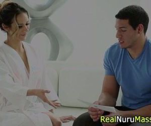 Nuru masseuse bounces wam - 5 min
