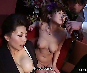 Two smoking hot Japanese girls enjoy a wild raunchy threesome 8 min