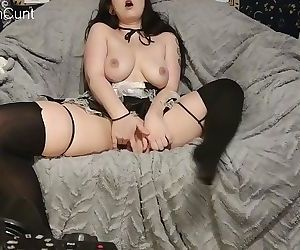 Slutty maid fucks herself with your wifes toys
