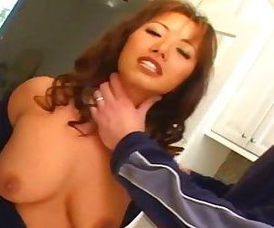Busty Asian takes 2 dicks