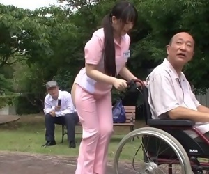 Subtitled bizarre Japanese half naked caregiver outdoors - 5 min HD