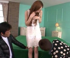 Erena Aihara looks so sweet in a cream lace dress with panties that match - 5 min