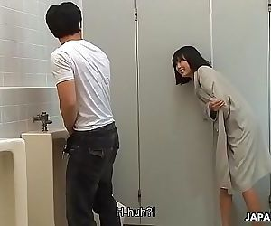Brainwashed Asian nympho hunts for cocks in the public toilet 1 min 1 sec