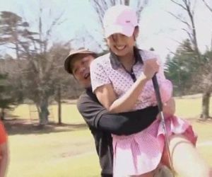 Subtitled uncensored HD Japanese golf outdoors exposure - 3 min HD