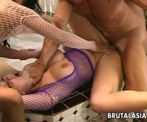 Super hot sluts are getting fucked hard in a threesome - 8 min