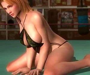Dead or alive 5 Tina blonde MILF in tight microbikini shows us ass & breast